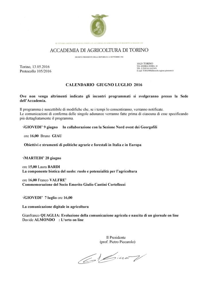Accademia di Agricoltura di Torino - CALENDARIOgiugno-luglio2016