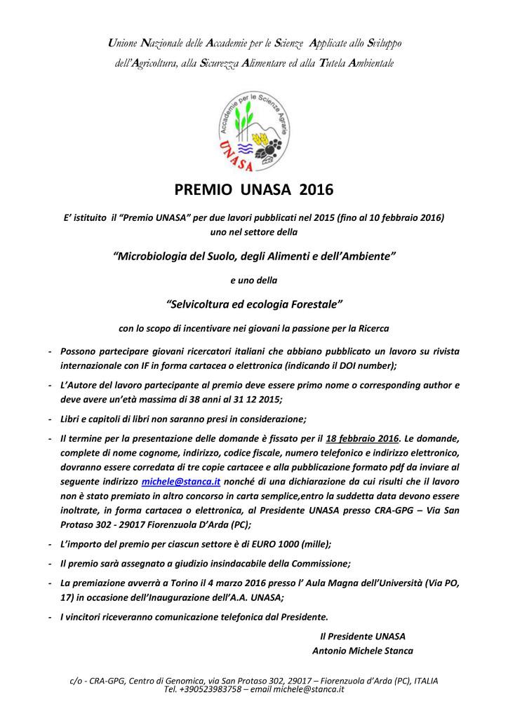Premio UNASA 2016