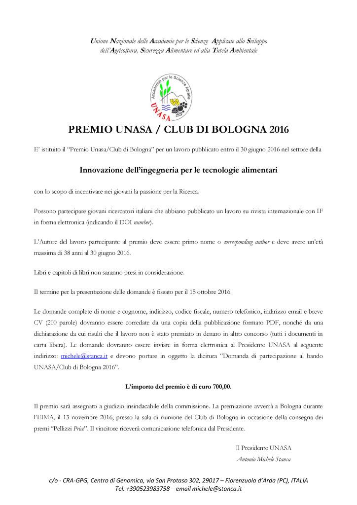 premiUNASACLUBBOLOGNA2016 CORRETTO